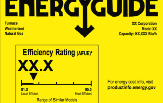energy guide on furnace depicting annual fuel utilization efficiency