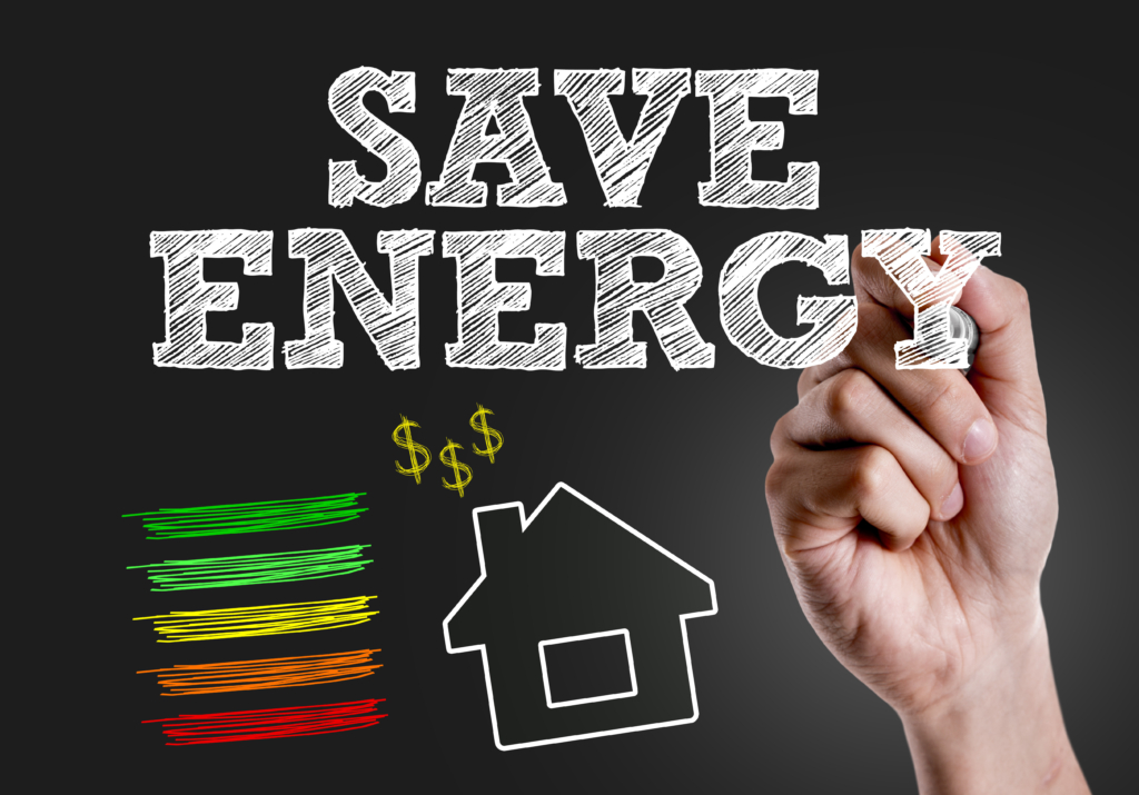 Hand Writing Save Energy to introduce energy saving tips