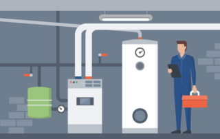 graphic of hvac service technician inspecting boiler room